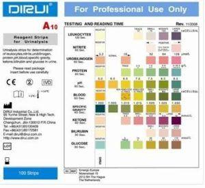 Тест-полоски Dirui A-10 для анализатора мочи