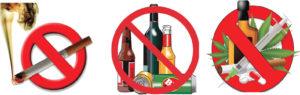 Следует отказаться от сигарет, наркотиков и алкоголя